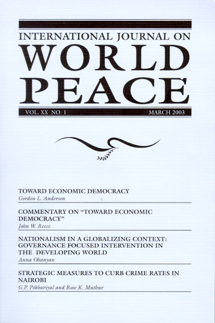 International Journal on World Peace (IJWP) Subscription, Library