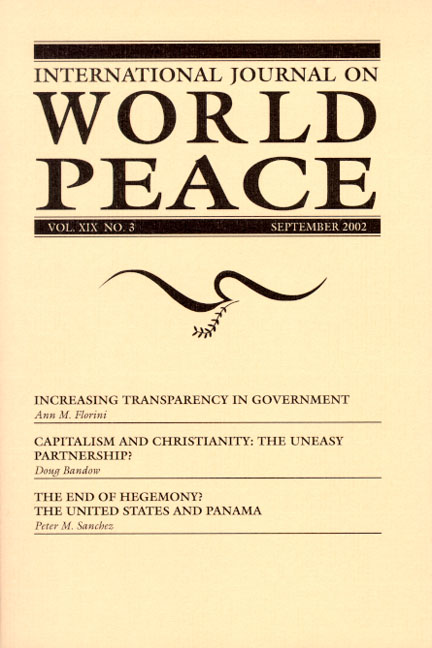 International Journal on World Peace (IJWP), Back Issues, Hard Copy